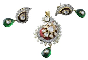 Other Antique Kundan and Meena Ambi with Green Drop