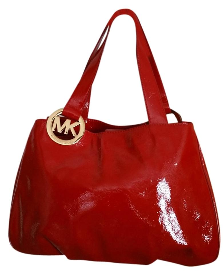 3e411f33a1a4 Michael Kors Fulton Large East Shoulder Red Patent Leather Tote ...