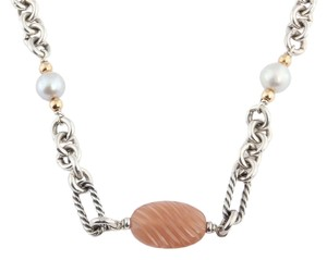 David Yurman Rose Quartz and Pearl Bijoux Necklace