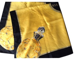 Dior DIOR silk yellow black perfume bottles scarf
