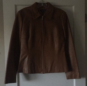 Ann Taylor Dark camel or caramel colored Leather Jacket