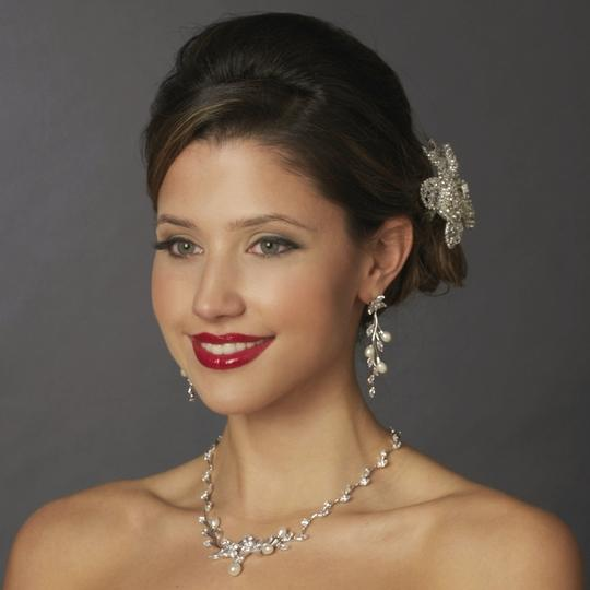 Elegance By Carbonneau Cz And Pearl Floral Wedding Jewelry Set