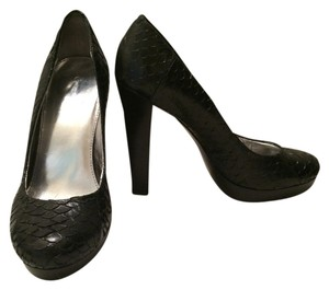 Calvin Klein Leather Snakeskin Black Platforms
