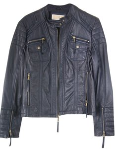 Michael Kors Leather Leather Lined Dark blue/purple Jacket