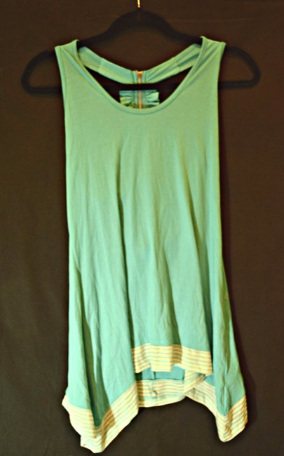 Arden B. Summer Striped Spring Razor Back Top Turquoise