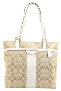 Coach F28504 Tote in SILVER/KHAKI/WHITE