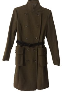 H&M Jacket Long Green Trench Coat
