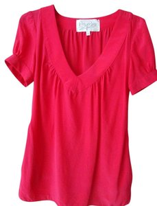 Rory Beca V-neck Silk Top Lipstick red