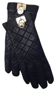 Michael Kors Michael Michael Kors Gloves, Quilted Leather Hamilton Lock with Gold Hardware