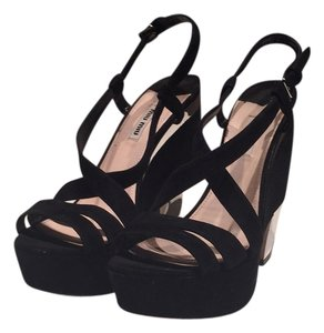 Miu Miu Black/Silver Wedges