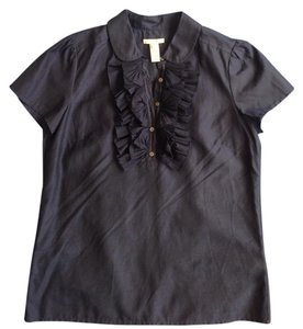 J.Crew Ruffle Top Navy Blue