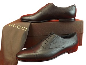 Gucci Black Praga Grained Leather Printed Logo Lace Up Oxfords 12 13
