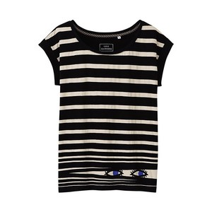 Lulu Guinness White Face Cotton T Shirt Black Stripes