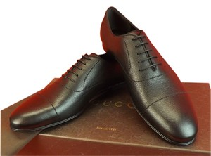 Gucci Brown Dark Praga Grained Leather Printed Logo Dress Oxfords 11 12 Shoes