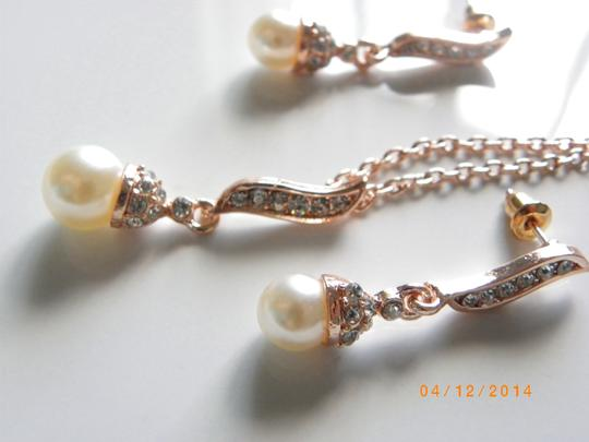 Cream White Of 5 Necklaces and Earrings Rose Gold Rhinestone Crystal Bridesmaid Bridesmaid Gifts Jewelry Set Image 2