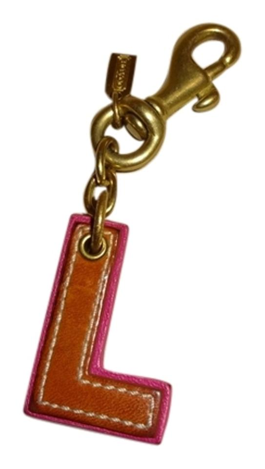Coach COACH Large Capital Letter INITIAL L Purse CHARM British Tan Pink Leather