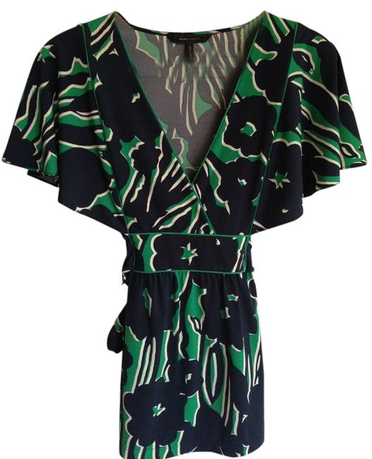 BCBGMAXAZRIA Bold Floral Top Navy and Kelly Green