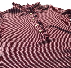 Tory Burch T Shirt Burgundy/ ivory stripped