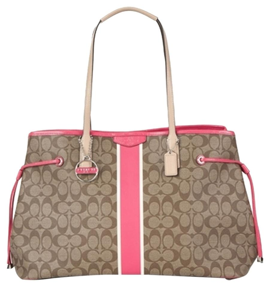 Coach Stripe Drawstring Large Carryall F30521 Khaki Pink Signature Coated  Canvas with Leather Trim Tote c58ba2a253c21
