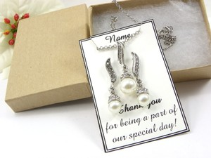 White / Ivory Of 6 Necklace and Earrings Bridesmaid Gift Jewelry Set