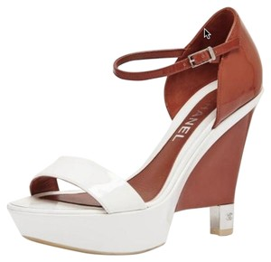 Chanel Platform Burnt Orange/White Wedges