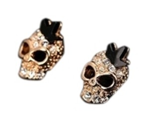 Gold Plated Skull and Crown Stud Earrings