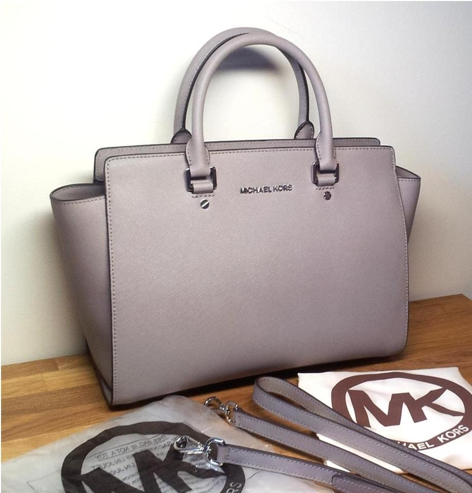 2262066d93ba Michael Kors Mk Large Selma Tote Crossbody Saffiano Leather Selma Satchel  in Pearl Gray Image 0 ...