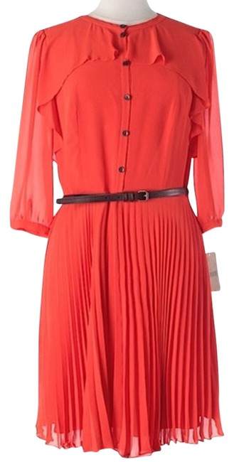 Item - Orange Pleated Knee Length Night Out Dress Size 10 (M)