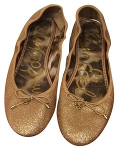 Sam Edelman Metallic Glitter Comfortable Gold Flats
