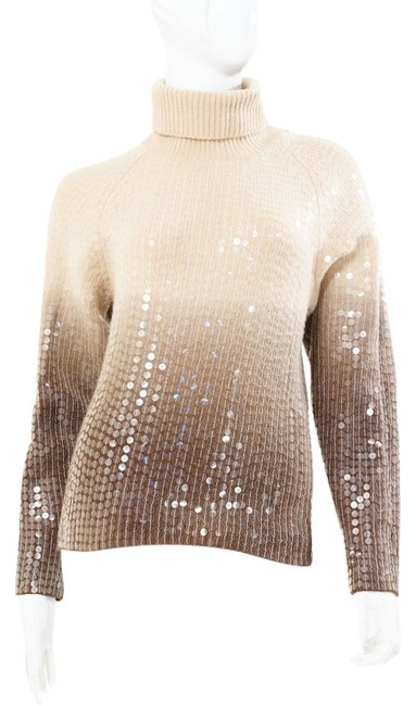 Preload https://img-static.tradesy.com/item/853539/votre-nom-ombre-beige-brown-turtleneck-sequin-sweaterpullover-size-petite-4-s-0-0-650-650.jpg