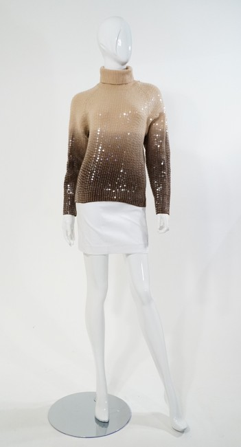 Votre Nom Beige Brown Turtleneck Sequin Sweater Image 1