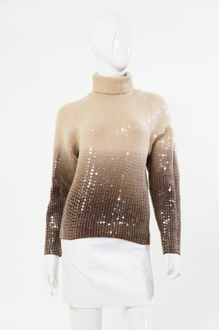 Votre Nom Beige Brown Turtleneck Sequin Sweater Image 2