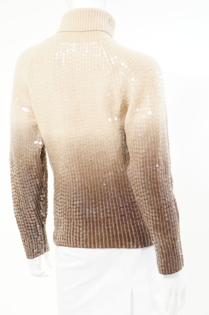 Votre Nom Beige Brown Turtleneck Sequin Sweater Image 3