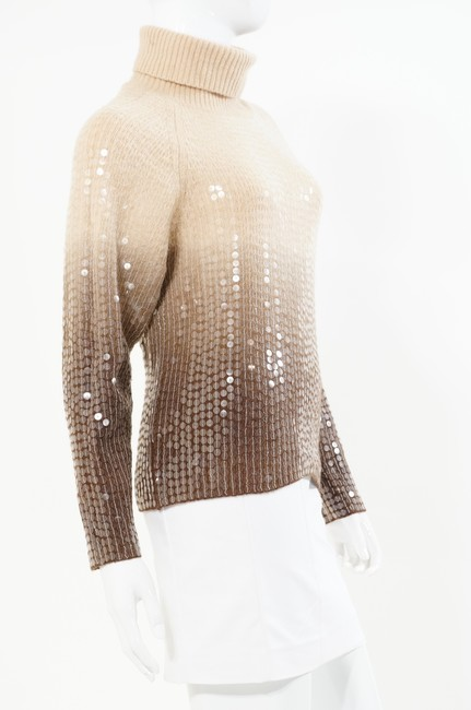 Votre Nom Beige Brown Turtleneck Sequin Sweater Image 4