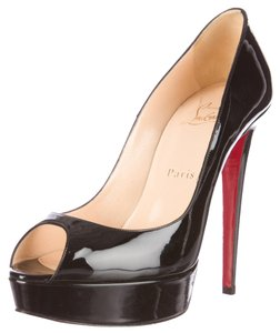 Christian Louboutin Patent Leather Peep Toe Red Sole Sexy Black Pumps