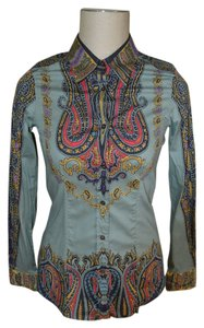Etro Italian High Fashion Fashion Button Down Shirt Green, Red, mustard, black and purple shirt