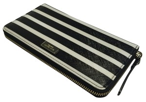 Kate Spade Kate Spade New York Brightwater Drive Neda Wallet Wlru2248 Black/White Stripes Clutch