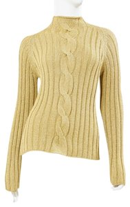 Votre Nom Paris Metallic Knit Cable Turtleneck Couture Sweater