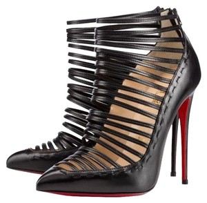 Christian Louboutin Leather Stiletto Ankle Black Boots