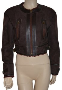 Burberry Lambsking Shearling Oxblood Leather Jacket