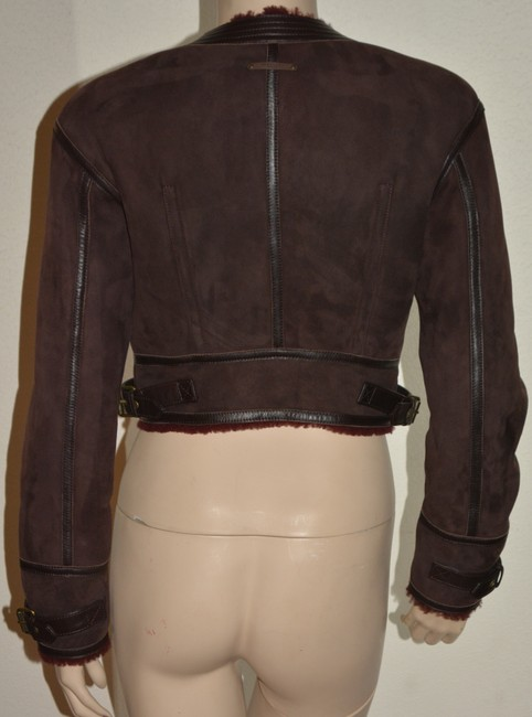 Burberry Lambsking Shearling Oxblood Leather Jacket Image 1