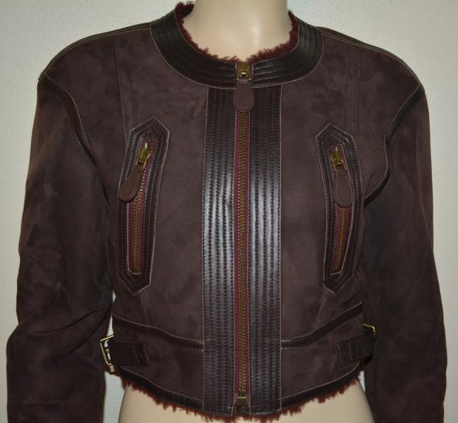 Burberry Lambsking Shearling Oxblood Leather Jacket Image 2