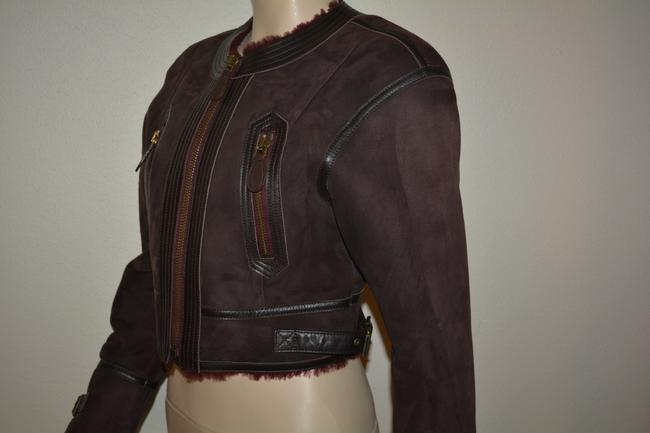 Burberry Lambsking Shearling Oxblood Leather Jacket Image 4
