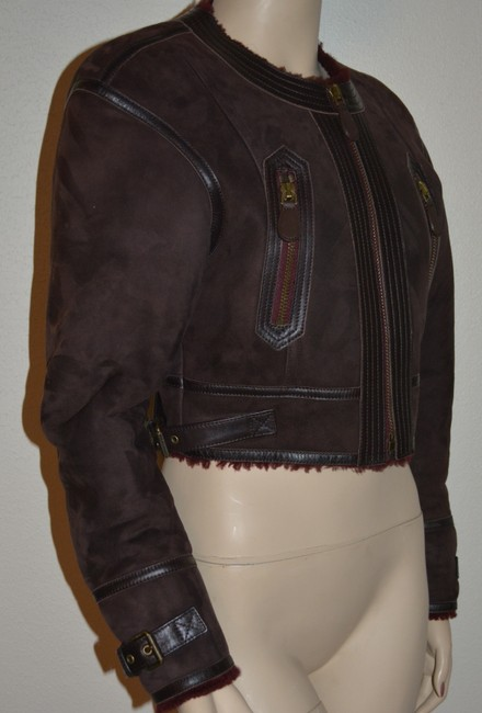 Burberry Lambsking Shearling Oxblood Leather Jacket Image 6