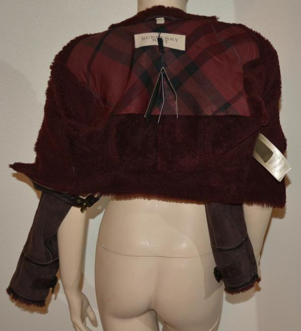 Burberry Lambsking Shearling Oxblood Leather Jacket Image 9