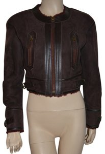 Burberry Women's Lambskin Leather Shearling Oxblood Leather Jacket