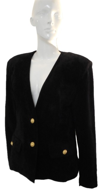 Preload https://img-static.tradesy.com/item/8537500/evan-davies-black-collarless-suede-blazer-leather-jacket-size-4-s-0-1-650-650.jpg