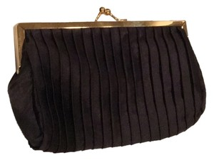 Estée Lauder Black Satin Evening Evening Formal Prom Elegant Chain Lined Optional Chain Clutch