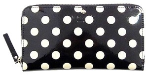 Kate Spade Kate Spade Black Patent Leather And White Polka Dots Continental Zip Wallet New