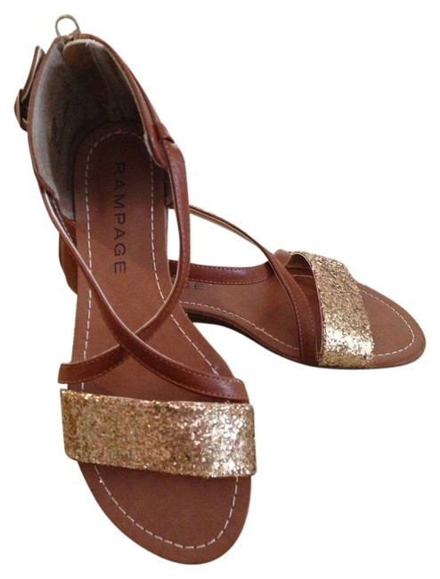 Item - Brown/ Glitter Gold Sandals Size US 7